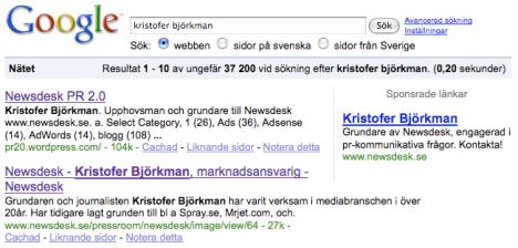 Kristofer Björkman på Google