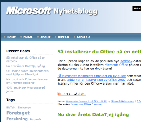 Microsofts nyhetsblogg