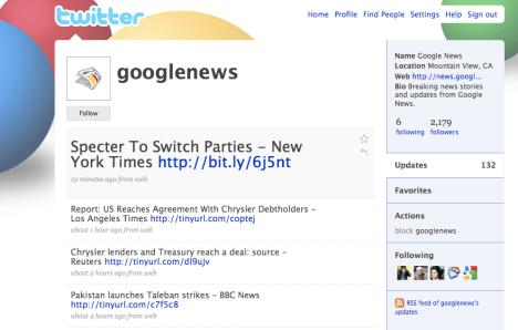 Google News på Twitter