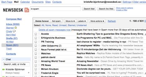 Pressutskicken konkurrerar med 97% spam