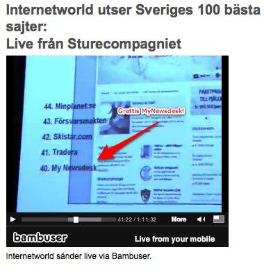 MyNewsdesk.com - Sveriges 40:e bästa sajt