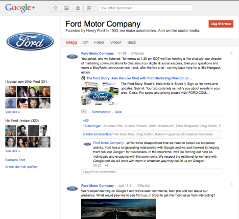 Ford - one of the first business on Google+